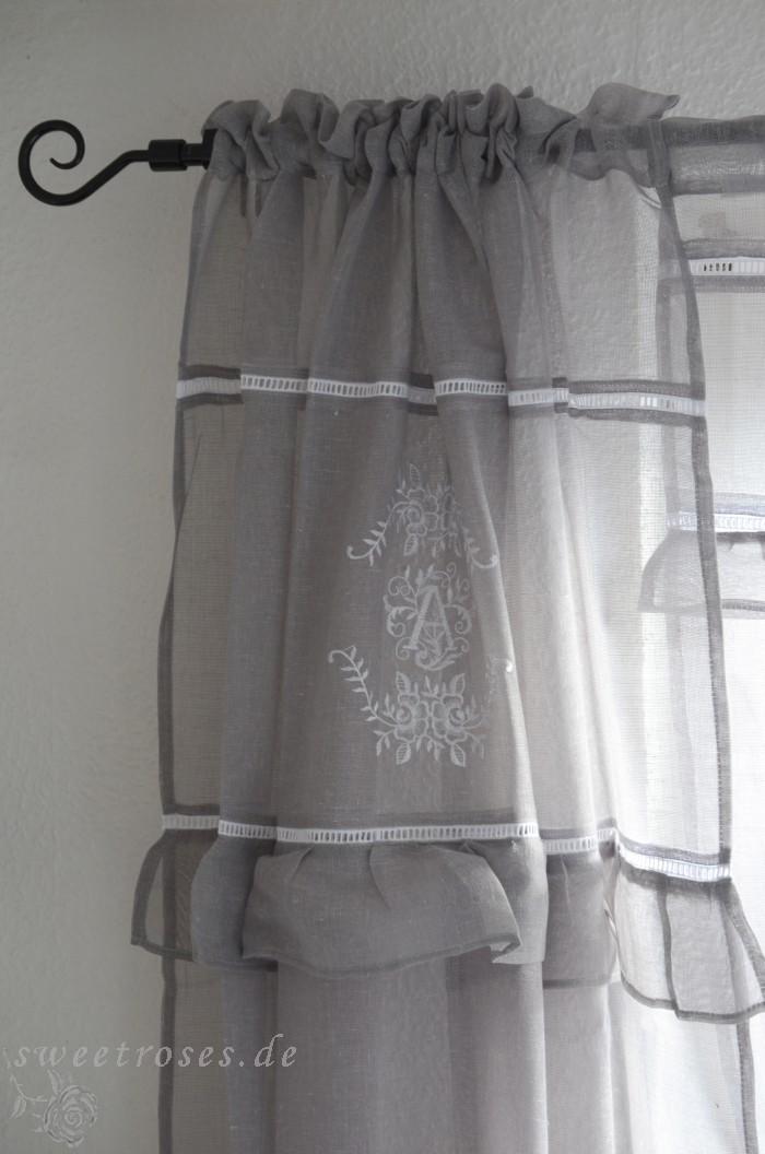 vorhang set gardine 2 x120x250 anastasia grau shabby chic landhaus vintage neu ebay. Black Bedroom Furniture Sets. Home Design Ideas
