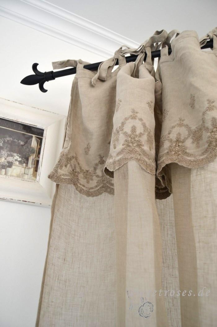 vorhang gardine aurelie 140x250 cm schal stickerei shabby vintage landhaus neu ebay. Black Bedroom Furniture Sets. Home Design Ideas